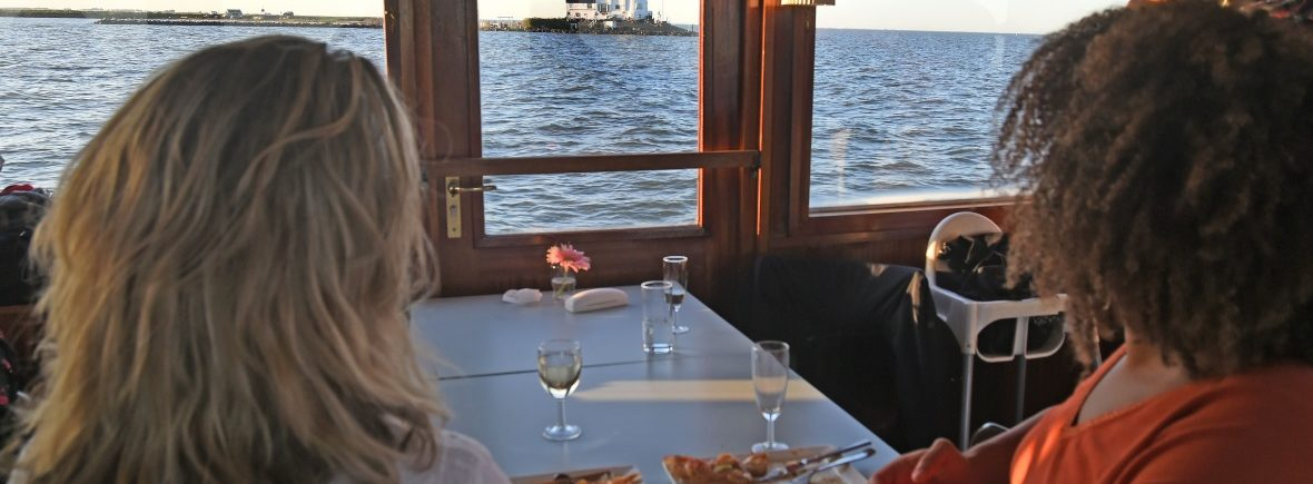 "Take Away Boot Diner on boat Elvira enjoying the view ""het Paard van Marken"" when sailing"